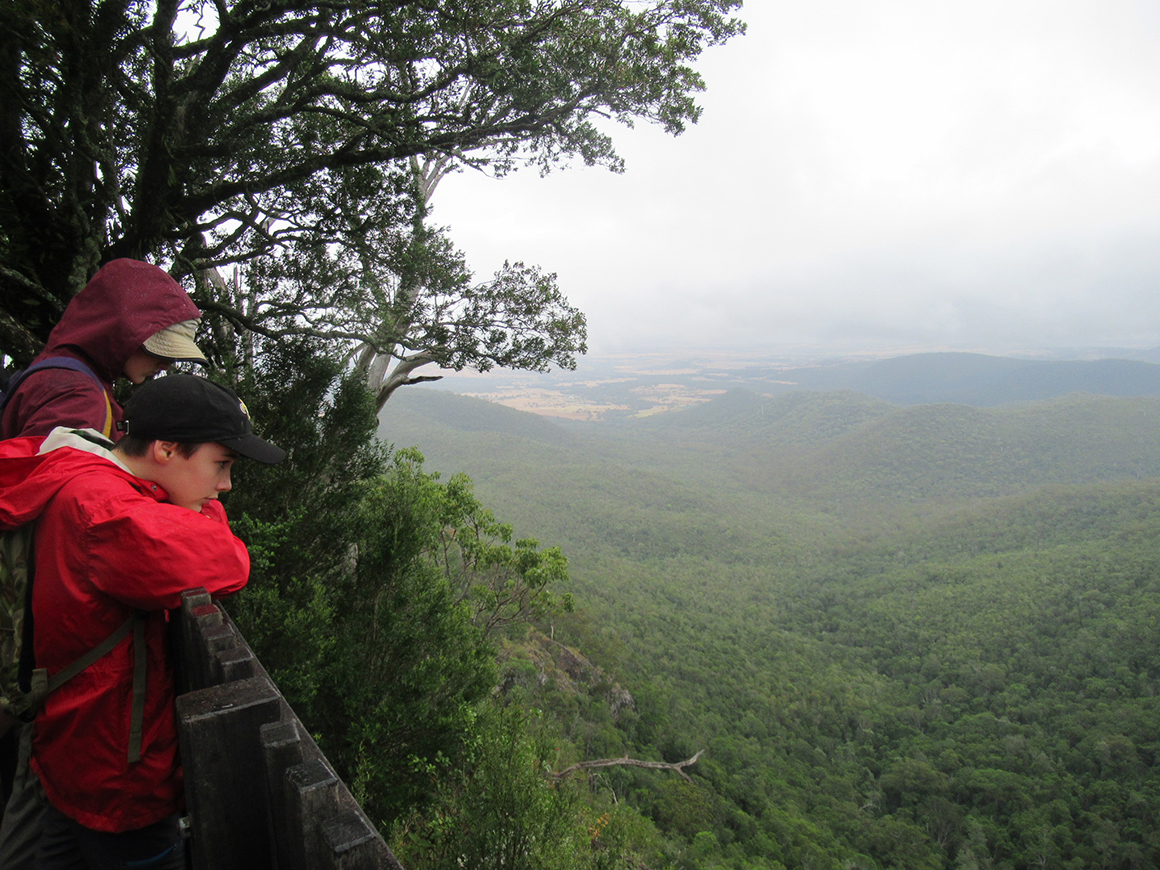 Two young teens, clad in bright red jackets, take a break from hiking, gazing over a handrail at expansive views of forest-clad ranges and valleys under cloudy skies.