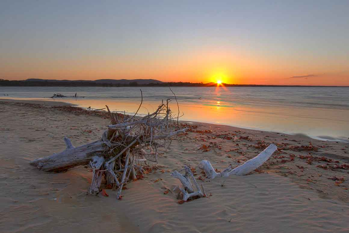 A golden sun sinks below the horizon casting an orange glow in the sky which is reflected on the ocean's milky surface, with bleached driftwood on the beach in the foreground.