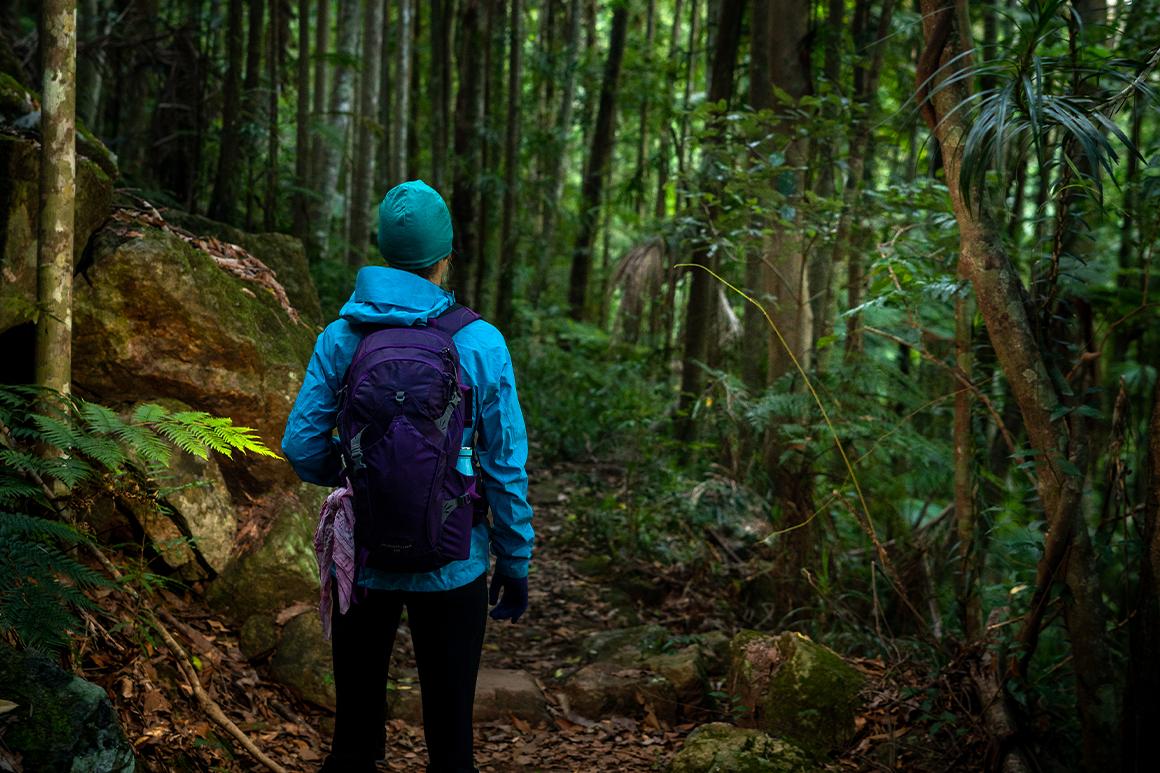Hiker wears a rain jacket and warm pants.